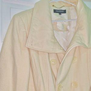 Women's Guess Wool Blend Cream Coat